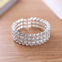 Wholesale Tibet Silver Open Cuff - 3 Row Big Crystal Rhinestone Stretch Cuff Bangle Bracelet Wedding Bridal Spiral Wristband High Quality Side Open Wedding Bracelets for Women
