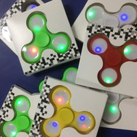 Wholesale Dhl Lantern - New LED Lanterns Fidget Spinners Triangle Magic Hand Spinner Lightning Spinning Top Decompression Finger Toy with Retail box Free DHL
