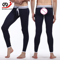 Wholesale Sexy Men Tight Clothing - Wholesale-WJ Hollow Gay Cargo Pants Man Qiuku Homewear Men Compression Pants Sexy Compression Tights Modal Gay Tights Brand Clothing