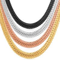 Wholesale Wide Bracelets - U7 Gold Chain Necklace Bracelet with 18K Stamp Platinum 18K Rose Gold Plated 0.6 cm Wide Chains Necklace Bracelet Party Men's Jewelry
