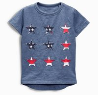 Wholesale Wholesale American Flag Shirts - 2017 Summer New Baby Boy T-shirts American flag Star Cotton Short Sleeve T-shirts Children Clothing 1-6Y 50684
