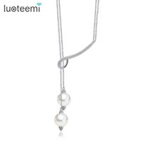 Wholesale Long Pearl Necklace Length - LUOTEEMI New Lady Girl Lovely Long Double Imitation Pearls Adjustable Length Pendant Necklace for Women Jewelry CZ Bijoux Gifts