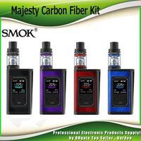 Wholesale Baby Full - Original SMOK Majesty 225W Carbon Fiber Full Kit with Changeable LED Box Mod 2ml 4ml TFV8 X Baby Coil Tank Starter Kits 100% Authentic