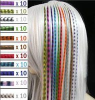 Wholesale Grizzly Synthetic - Hot Colorful Length 16inch 40cm 14 colors Synthetic Available Grizzly Loop Feather Hair Extensions Hairpiece 10000pcs lot