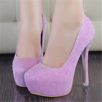 Wholesale Dancing Platform - Fashion Banquet Wedding Party Womens Shoes Dance High Heels Ladies Stilettos Thick Heel 14 cm Crystal Platform Single Shoes