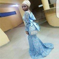 vestido de lazo con lazo atrás al por mayor-Ice Blue Mujeres africanas vestidos de noche 2018 de encaje de manga larga sirena vestidos de baile con lazo de cinta en la parte posterior del piso árabe desgaste formal