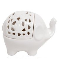Wholesale Lucky Elephant White Like Sweet Fume Furnace Ceramic Candle Wedding Decoration Birthday gifts