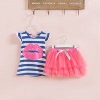 Wholesale Tutu Skirts Patterns - Children's Clothing Set Girl red lip pattern stripe vest+tutu skirt 2 pcs Girls short sleeve suit
