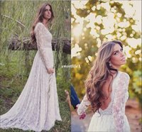 Wholesale Empire Waist Wedding Cathedral - Boho Full Lace Long Sleeve Wedding Dresses 2017 Sexy Backless Waist With Beaded Seep Train Boho Garden Bridal Gown
