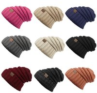 Wholesale Print Beanie - Unisex CC Trendy Hats Winter Knitted Beanie Label Winter Knitted Wool Cap Unisex Folds Casual CC Beanies Hat Solid Hat KKA1604