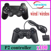 Wholesale Ps2 Controller Wired - 100pcs Wired 1.5M Controller Dual Vibration Joystick Gamepad Joypad For PS2 Playstation 2 Black retail bilstercard pack yx-ps2-1
