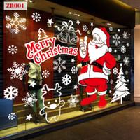 pegatina de cristal estática al por mayor-Feliz Navidad Etiqueta de la pared de Año Nuevo Eva Pegatinas estáticas Ventana de cristal decorativa Puerta Papá Noel muñeco de nieve