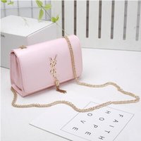 Wholesale Plain Ladies Tops - Top Quality Shoulder Bags Fashion Brand Female Chain Tassel Solid Handbags PU Leather Flap Totes Crossbody Bags