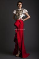 Wholesale Embroidery Wedding Dress One Shoulders - white and red high low Arab Dubai wedding dresses 2017 Krikor Jabotian dresses with gold sequin lace beaded wedding guest dresses
