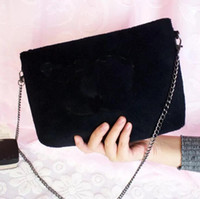 Wholesale rounded shoulders - New VIP gift Fashion black chain makeup bag famous luxury party bag fashion shoulder bag good quality velvet handbag classic Collections