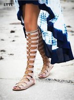 Wholesale Roman Sandals Style Shoes - Rome Style Lace-Up Long Gladiator Sandals Summer Cut-Outs Knee High Boots Woman Peep Toe Flat Bottom Women Shoes