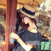 Wholesale Sexy Sun Hats - Wholesale- Fashion Women Wide Large Brim Floppy bohemia Japan's sexy lace bow Sun Straw Hat Cap for adult 57cm
