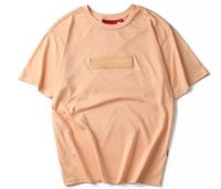 Wholesale Asian Size Tea Peach Suprem T Shirts Men Women Summer Short Sleeve Tops Tees Hip Hop Embroidered Box Logo Cotton T shirts