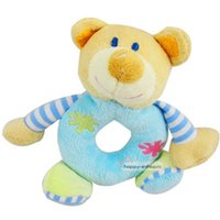 blue bear rattle - Hot Cute Baby Girls Boys Infant Hand Rattle Animal Soft Plush Doll Educational Toys Blue Bear