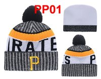 Wholesale Beanie Hat Pirate - New Arrived PIRATES Beanies Baseball Beanie KNIT Winter Cap cuff Beanie with Pom Top Quality Sport Men And Women Skull Hat