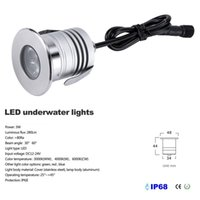 Acier inoxydable IP68 3W LED sous-marine DC12V / 24V LED Marine Light Mini LED Down Lights Inground Lumière Piscine 50pcs
