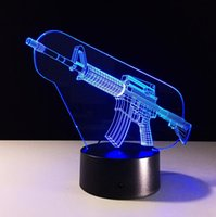 Wholesale Machine Gun Cartoon - Christmas Gift Indoor Decoration 3D Cool Machine Gun Shaped USB Night Light LED 7 Colors Flashing Kids Bedside Acrylic Table Lamp