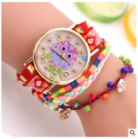 Wholesale Owl Print Ribbon - Fashion watches owl print Pendant Bracelet Ribbon Style luxury watches women casual Canvas rope quartz watches Wristwatches relogios gifts