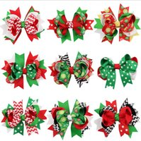 Wholesale Hot Sale Hair Clip - 20Pcs Christmas Hair Bows Girl Christmas Hair Accessories Best Gifts Fok Kids Ribbon Hair Bows Clip Children Hairpin Hot Sale
