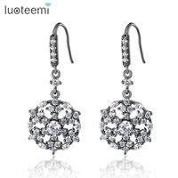 Wholesale Chandeliers Clear Black - LUOTEEMI 2017 New Fashion Black Tone Delicate Clear Cubic Zirconia Snowflake Crawler Cuff Dangle Earrings For Women