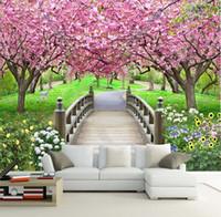 baummalerei malerei großhandel-Romantische ländliche große Stereo-Wohnzimmer das Schlafzimmer TV-Einstellung Wandbild Malerei 3 d Tapete nahtlose Kirschbäume