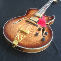 Wholesale Quilted Guitar - Good Sound Hollow Body Electric Guitar 5A Quilted maple top and Gold Hardware, free shipping