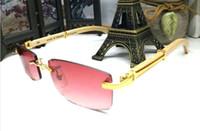 lentes vermelhas sem aro venda por atacado-2017 moda designer de marca de madeira óculos de sol para homens polarizados búfalo chifre óculos sem aro metade do quadro vermelho verde cinza marrom quadrado lente
