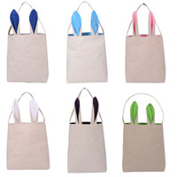Wholesale Egg Baskets - Easter Bunny Bags Dual Layer Rabbit Ears Design Basket Jute Cloth Material Tote Bag Reticule handbag Carrying Eggs Gifts for Easter Party