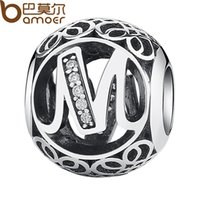 "Wholesale Letter M Charm Sterling - Wholesale- BAMOER 100% 925 Sterling Silver ""M"" Letter Alphabet DIY Charms fit DIY Bracelets & Bangles DIY Jewelry Accessories PSC008-M"