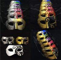 mavi yarı yüz maskesi toptan satış-Mavi Patchwork Yarım Yüz Maskesi Cadılar Bayramı Masquerade Maskeleri Venedik dans Parti Erkekler Için Maske snd Kadın maskeleri I055