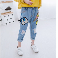 Wholesale Children Boy Pants Pocket - Summer Children Jeans Fashion printing Cartoon washed hole boys girls Jeans baby blue Denim casual pants Toddler trousers New Clothes A279