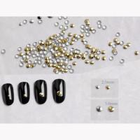 Wholesale Metal Rivet Nail Art - Art Rhinestones Decorations 3000-5000pcs 2mm-3mm Fashion Round Punk Rivet Nail Tips Golden Silver Metal Nail Art Tips Metallic Studs Stic...
