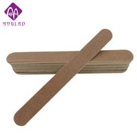 Wholesale Thin Nail Files - Wholesale- 5pcs lot 100 180 wooden nail files buffers Ultra-thin Long strip brown Professional Slim Sandpaper Nail File Salon Manicure tool