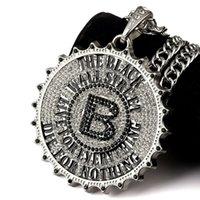 Wholesale Big Crystal Rock - 2017 I Gear Round Card Big B Pendant Necklace Fashion Star Hip Hop Rock DJ Bar Dance Accessories Gold Chain Men Jewelry