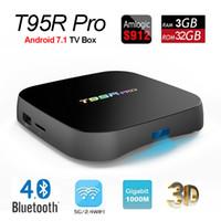Wholesale iptv set top box hd - Octa core S912 T95R Pro Amlogic IPTV Set Top Box with Android 7.1 3GB RAM 32GB ROM 2.4 5.0G Wifi BT4.0 1000M Lan Streaming Media Player