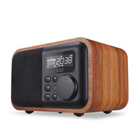 caixa de alto-falante mp3 usb venda por atacado-Multimídia de madeira Bluetooth mãos-livres Micphone Speaker iBox D90 com FM Rádio-relógio Despertador TF / USB MP3 Player retro madeira caixas de bambu Subwoofer