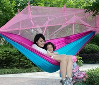 Wholesale Double Bag Chair - Wholesale- Double Portable Sleeping Bag Hammock Army Green Parachute Nylon Camping Mosquito Garden Swing With Mosquito Nets Hamaca Chair