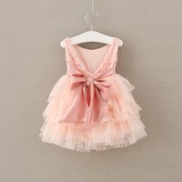 Wholesale Dressed Clothes - 2017 Baby Girls Tulle Lace Dresses Girl Princess tutu Sleeveless Dress Kids Girls Spring Summer Party Dress children's clothing