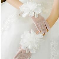 Wholesale Bridal Glove Ivory - New Princess Bridal Gloves with Flowers Romantic Finger Wedding Accessories Stock Elegant White Ivory Wedding Gloves