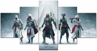 Wholesale Realistic Oil Painting - 5 Pieces Assassin's Creed Unity Games poster Decor Prints Realistic Oil Painting Printed(No Frame)