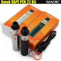 Wholesale E Cig Led - Smok Vape Pen 22 Starter Kit All-in-one Vapor System LED indicator Design 1650mAh Battery 22mm Vaporizer e cig cigarettes clone vapen DHL
