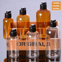 Wholesale Clear Plastic Pet Containers - 100ml 200ml 300ml PET Amber and Clear natural plastic bottles lotion containers with black Flip Top fast shipping F20172191