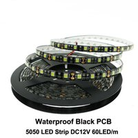 Wholesale Pcb Rgb - Black PCB LED Strip 5050 DC12V IP65 Waterproof 60LED m 5m lot White Warm White Red Green Blue RGB 5050 LED Strip.