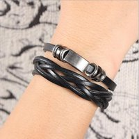 Wholesale Leather Wrist Band Braided - 5Pcs lot New Fashion Men's Braided Bracelet Leather Stainless Steel Cuff Wristband Bangle Wrist Band Hot Sale