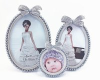 """Wholesale Photo Frame Wedding Silver - 3"""" 6"""" 7"""" silver resin ABS inlaid diamand Pearl oval photo frame for bridal gifts wedding photo frame style 4088#"""